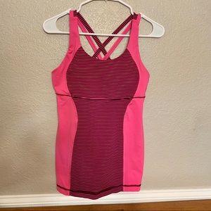 Lululemon pink built in bra yoga top